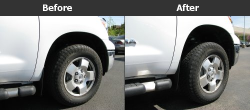 "The before and after pictures of a 3"" leveling kit on a Toyota Tundra"