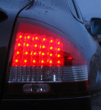 Close up of LED tail light at night