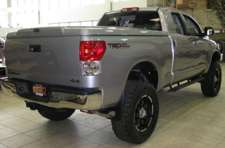Lifted Toyota Tundra rear view.