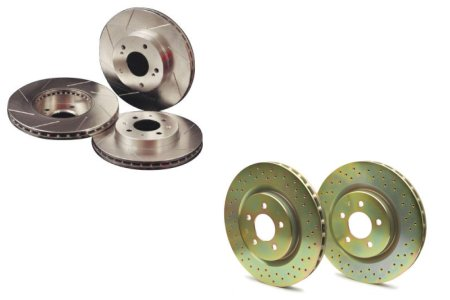 Slotted cross-drilled rotors for trucks