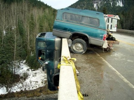 A Dodge Ram with a busted frame.