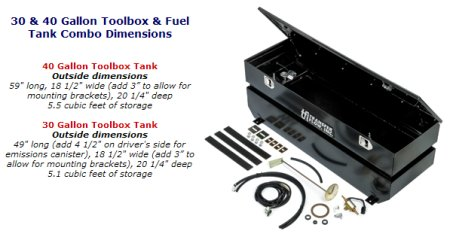 Combination fuel tank tool box for the Toyota Tundra.