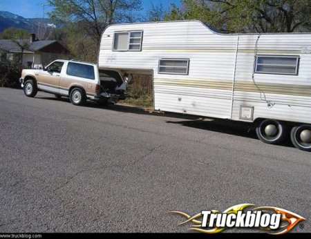 Towing a little too much with an S-10 Blazer. Image from Truckblog.com.