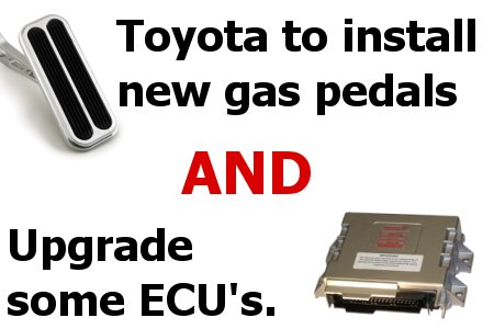 Toyota's official recall includes new gas pedals for all and brake-to-idle failsafe upgrade for some.