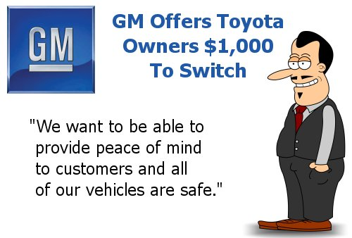 GM offers Toyota Owners $1000 To Switch