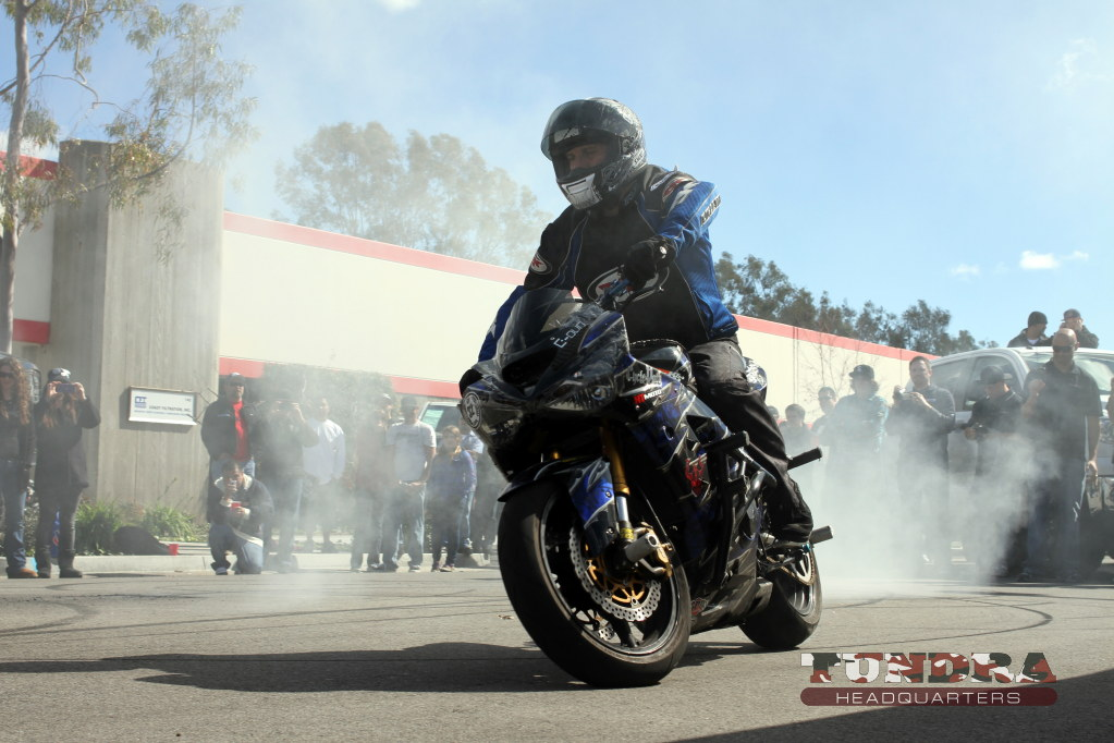 Sportbike spinning burn-out