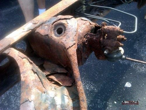Tundra frame rust close-up