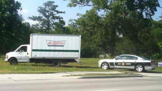 Police Cruiser Stops Doughnut Truck