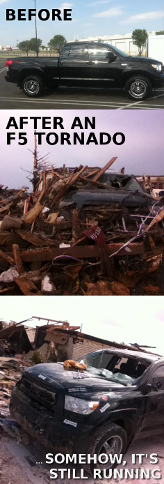 Toyota Tundra Meets EF5 Tornado - It STILL RUNS!