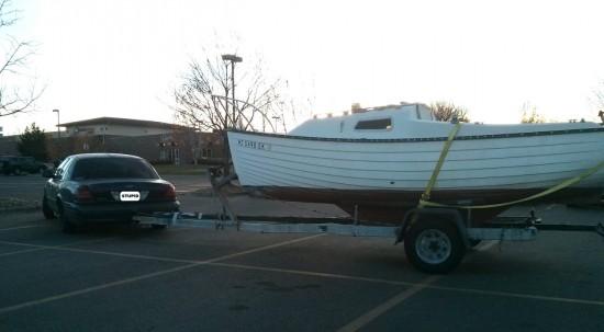 Crown Vic pulls sail boat