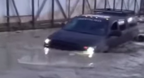 Tundra running thru deep water in Russia