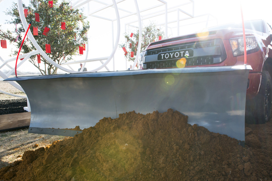 Toyota breaks ground on new Texas headquarters with a Tundra TRD PRO and a plow.