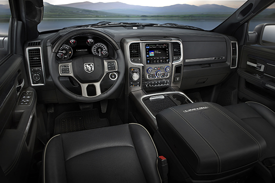 Here is a 2015 Ram 1500 Laramie Limited interior for comparison (note: we are terrible at taking interior photos like this!)