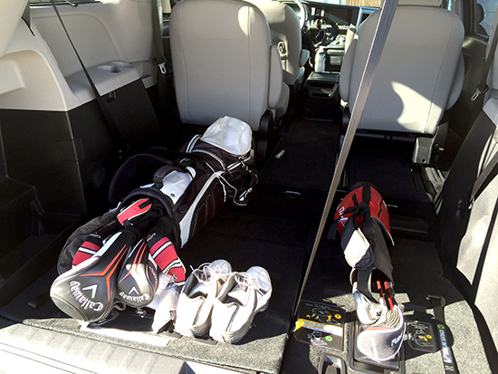 My golf clubs fit length-wise with plenty of room to spare.